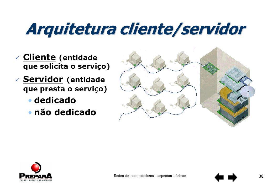 Redes de computadores - aspectos básicos 37 n Estrutura que inclui o hardware, as camadas funcionais, as interfaces e os protocolos usados para estabelecer a comunicação entre os nós e garantir uma transferência confiável de informações.