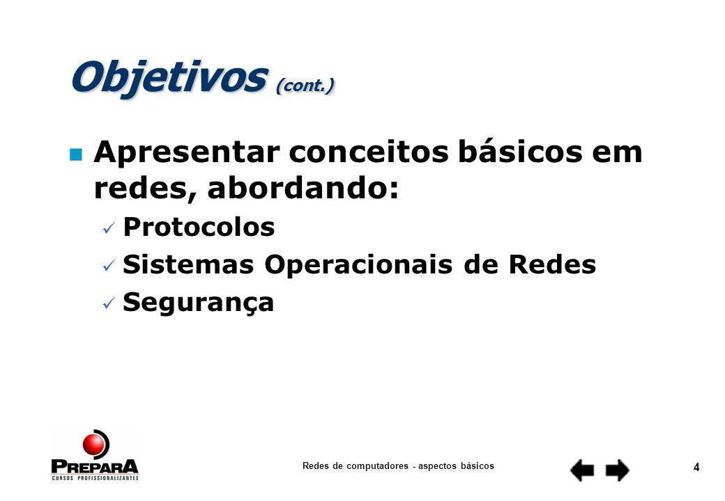 Redes de computadores - aspectos básicos 3 Objetivos (cont.) n Apresentar conceitos básicos em redes, abordando: Meios de Transmissão Equipamentos de Comunicação Arquiteturas de Redes Tecnologias de LANs