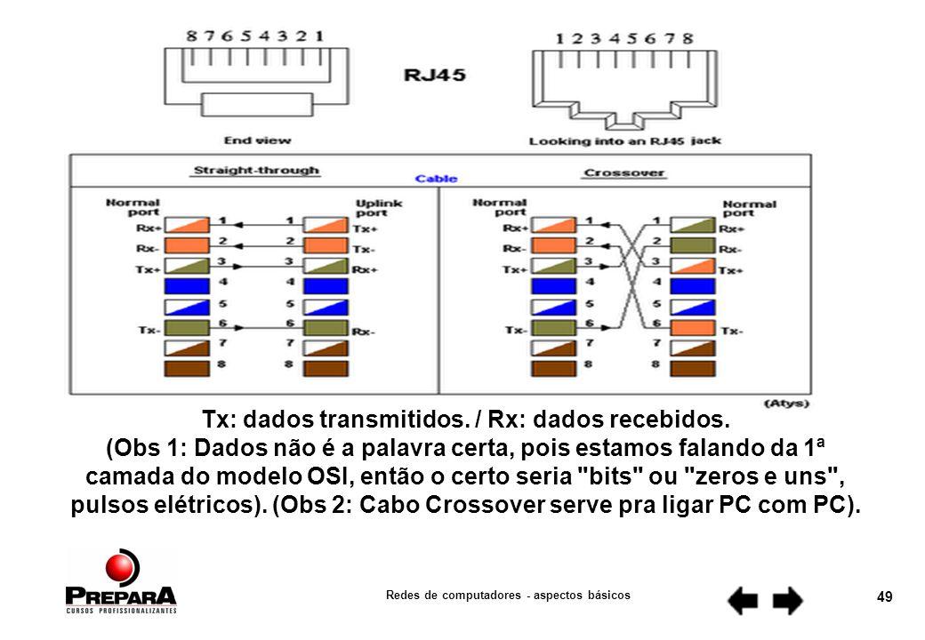 Redes de computadores - aspectos básicos 48 CRIMPAGEM DE CABOS um cabo de rede possui 4 pares ou 8 fios.