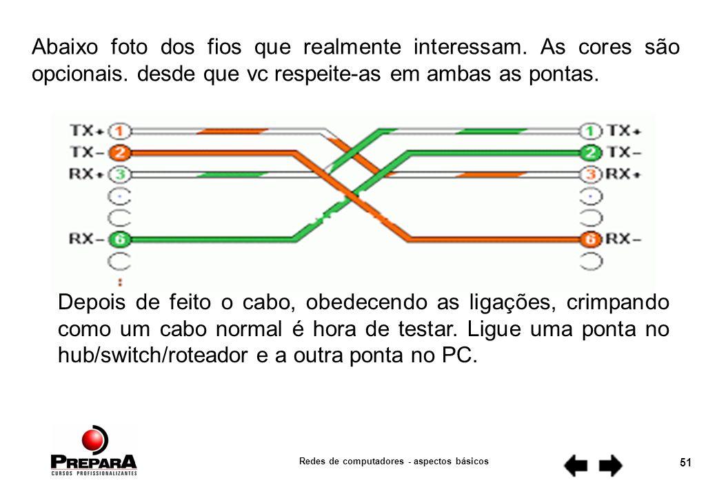Redes de computadores - aspectos básicos 50 Mas pode acontecer que, em determinada estrutura ou situação, será necessário usar alguns desses fios sobressalentes para outro pc ou para um ramal de telefone.