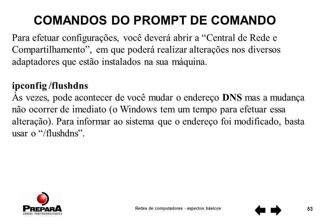 Redes de computadores - aspectos básicos 52 COMANDOS DO PROMPT DE COMANDO 1.