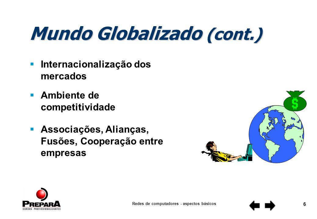Redes de computadores - aspectos básicos 6 Mundo Globalizado (cont.) Internacionalização dos mercados Associações, Alianças, Fusões, Cooperação entre empresas Ambiente de competitividade
