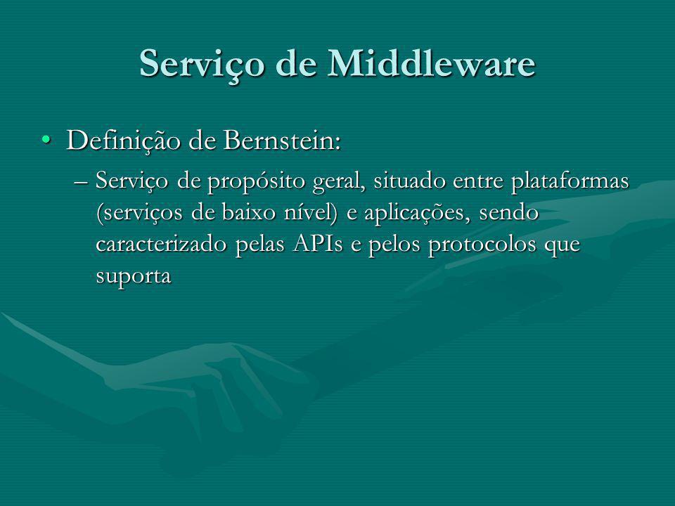Serviço de Middleware Definição de Bernstein:Definição de Bernstein: –Serviço de propósito geral, situado entre plataformas (serviços de baixo nível) e aplicações, sendo caracterizado pelas APIs e pelos protocolos que suporta