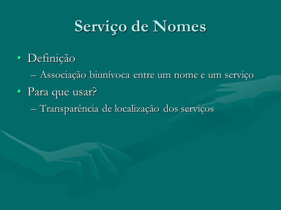 Serviço de Nomes DefiniçãoDefinição –Associação biunívoca entre um nome e um serviço Para que usar Para que usar.