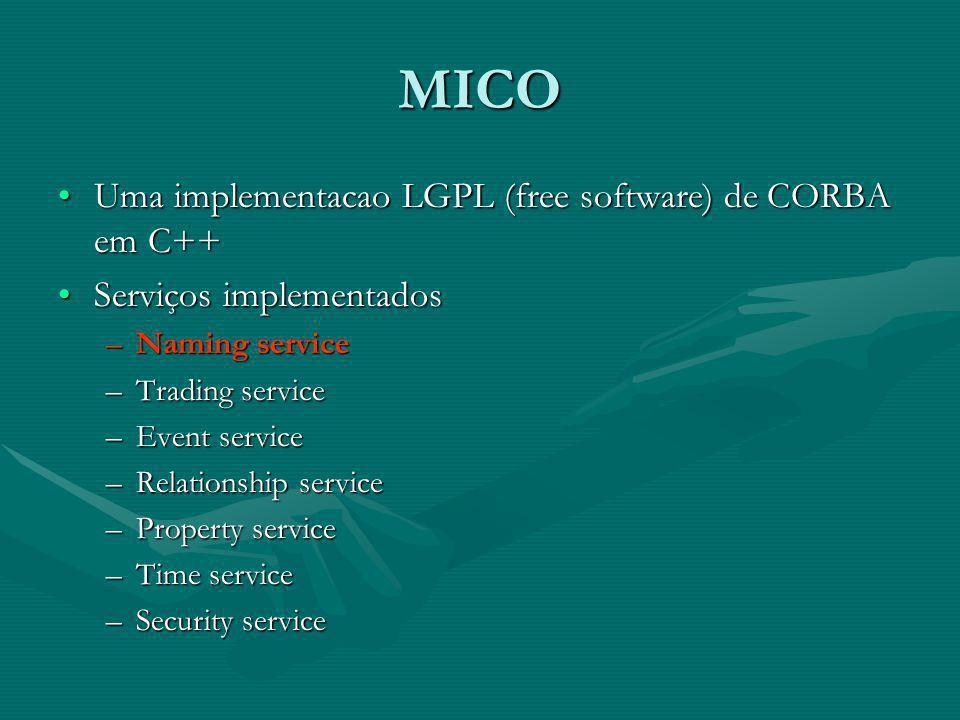 Configurando IDEs www.mico.orgwww.mico.orgwww.mico.org –MICO 2.3.12 No WindowsNo Windows –Visual Studio 2005 No LinuxNo Linux –Eclipse 3.2 + CDT