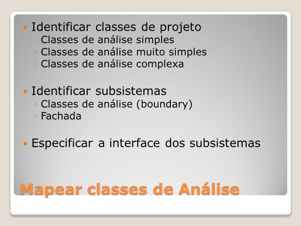 Mapear classes de Análise Identificar classes de projeto Classes de análise simples Classes de análise muito simples Classes de análise complexa Ident