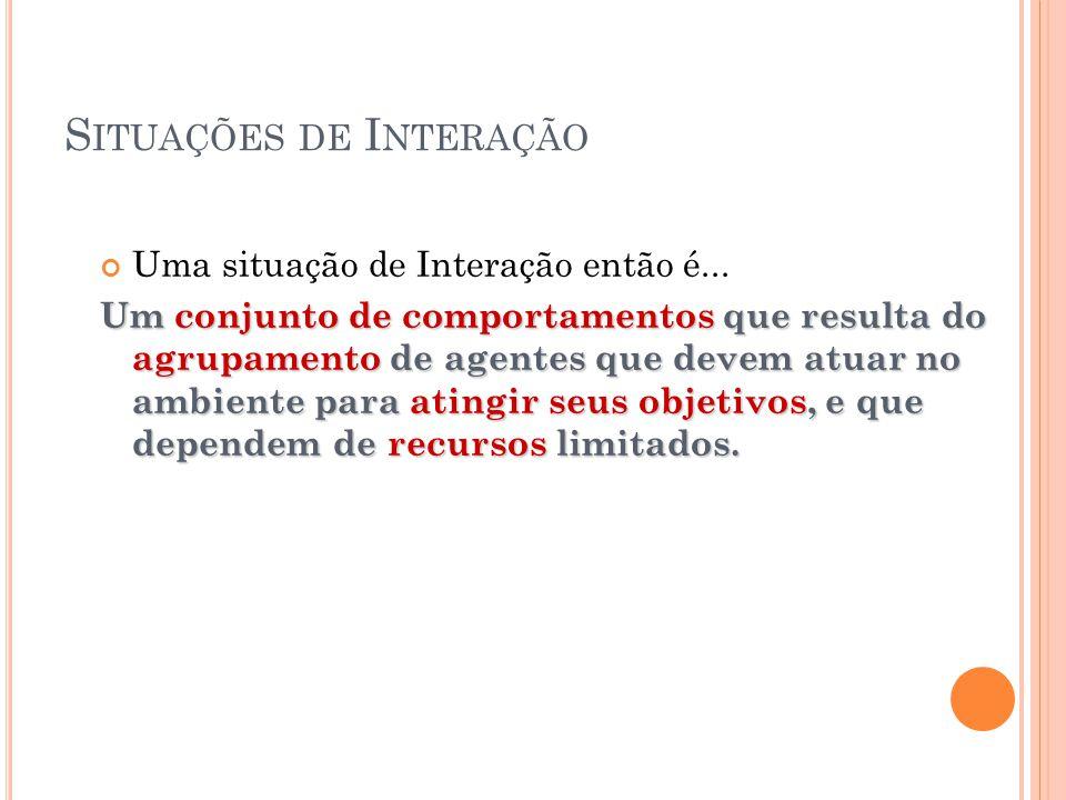 S ITUAÇÕES DE I NTERAÇÃO Uma situação de Interação então é...