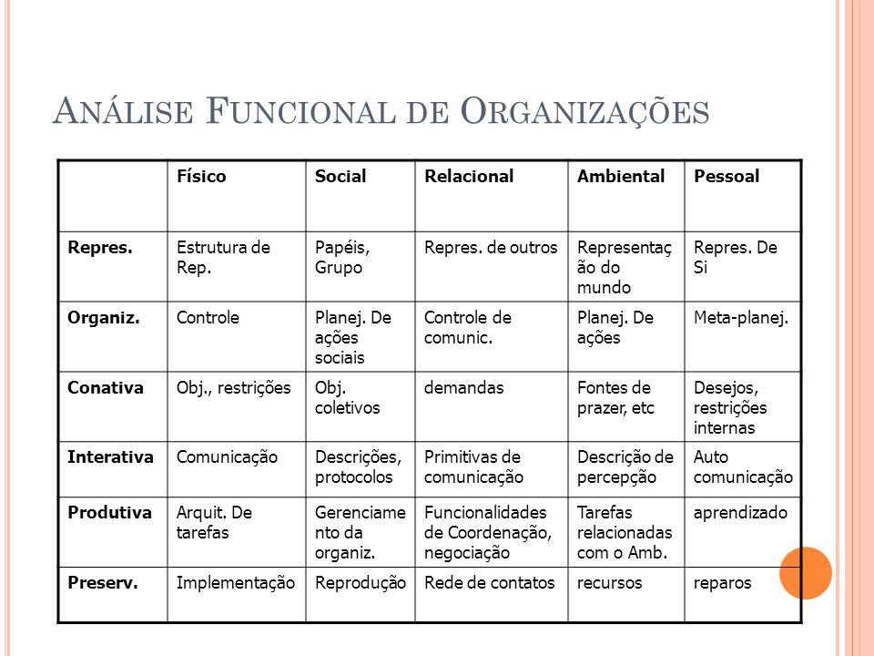 A NÁLISE F UNCIONAL DE O RGANIZAÇÕES FísicoSocialRelacionalAmbientalPessoal Repres.Estrutura de Rep.