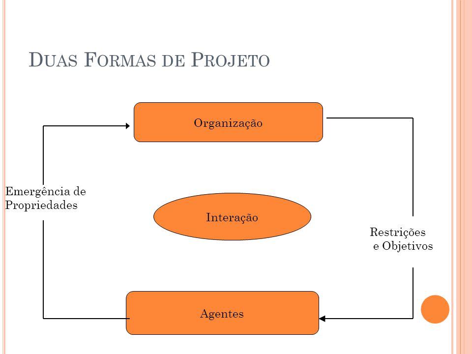 D UAS F ORMAS DE P ROJETO Organização Agentes Interação Restrições e Objetivos Emergência de Propriedades