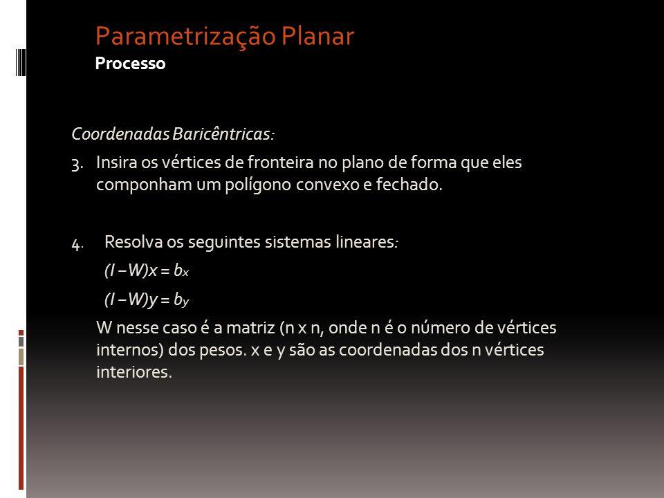 Parametrização Planar Processo Coordenadas Baricêntricas: 3.