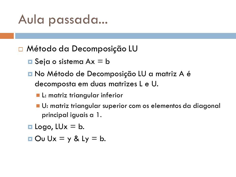 Aula passada... Método da Decomposição LU Seja o sistema Ax = b No Método de Decomposição LU a matriz A é decomposta em duas matrizes L e U. L: matriz