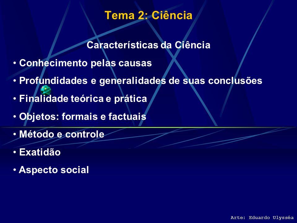 Tema 2: Ciência Arte: Eduardo Ulysséa Definições de Ciência 1. Conhecimento certo do real pelas suas causas. 2. Conjunto orgânico de conclusões certas