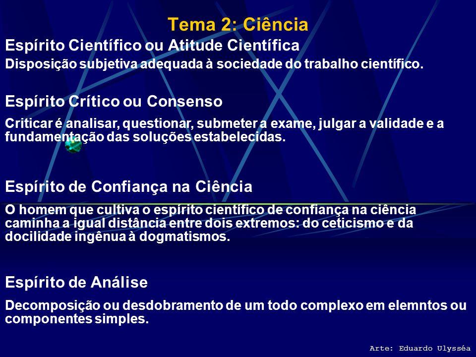 Tema 2: Ciência Arte: Eduardo Ulysséa Classificação das Ciências FÍSICA NUCLEAR, MINERALOGIA, LOGÍSTICA MILITAR, PETROGRAFIA, GEOLOGIA, COMPUTAÇÃO, FA