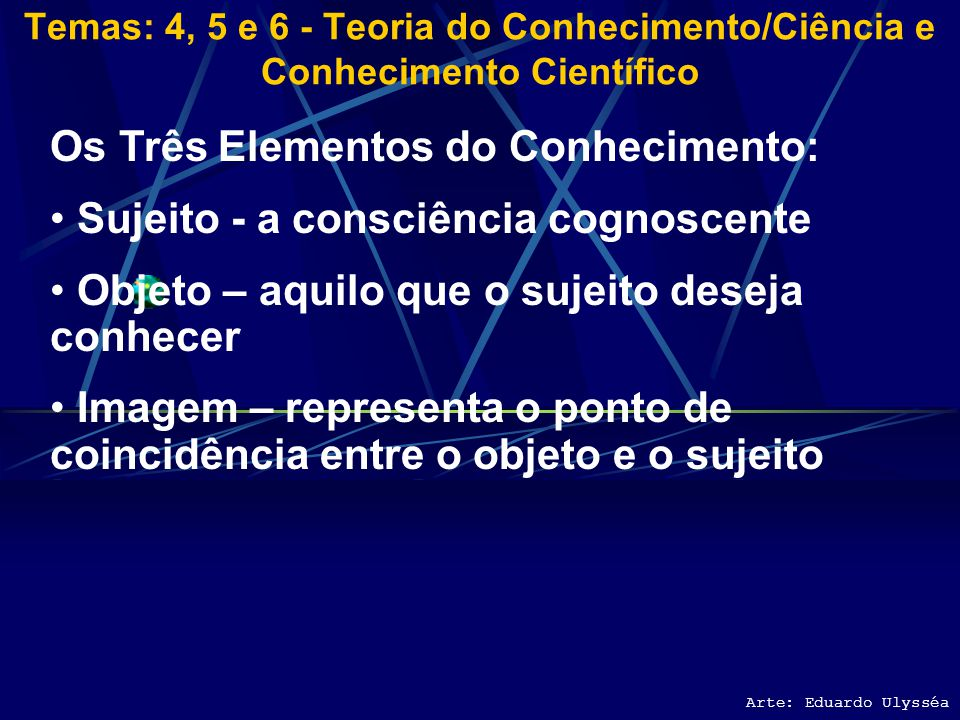 Temas: 4, 5 e 6 - Teoria do Conhecimento/Ciência e Conhecimento Científico Arte: Eduardo Ulysséa Diferentes Modos de Conhecer Conhecer e Pensar O home