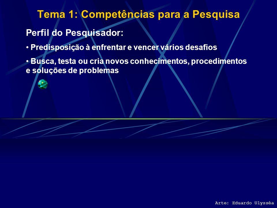 Tema 1: Competências para a Pesquisa Arte: Eduardo Ulysséa Perfil do Pesquisador: Predisposição à enfrentar e vencer vários desafios Busca, testa ou cria novos conhecimentos, procedimentos e soluções de problemas