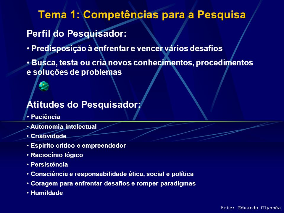 Tema 1: Competências para a Pesquisa Arte: Eduardo Ulysséa Perfil do Pesquisador: Predisposição à enfrentar e vencer vários desafios Busca, testa ou cria novos conhecimentos, procedimentos e soluções de problemas Atitudes do Pesquisador: Paciência Autonomia intelectual Criatividade Espírito crítico e empreendedor Raciocínio lógico Persistência Consciência e responsabilidade ética, social e política Coragem para enfrentar desafios e romper paradigmas Humildade