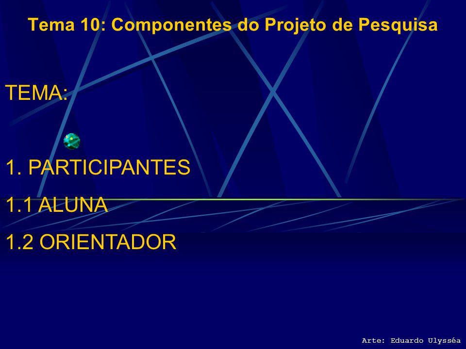 Arte: Eduardo Ulysséa Tema 10: Componentes do Projeto de Pesquisa TEMA: 1.PARTICIPANTES 1.1 ALUNA