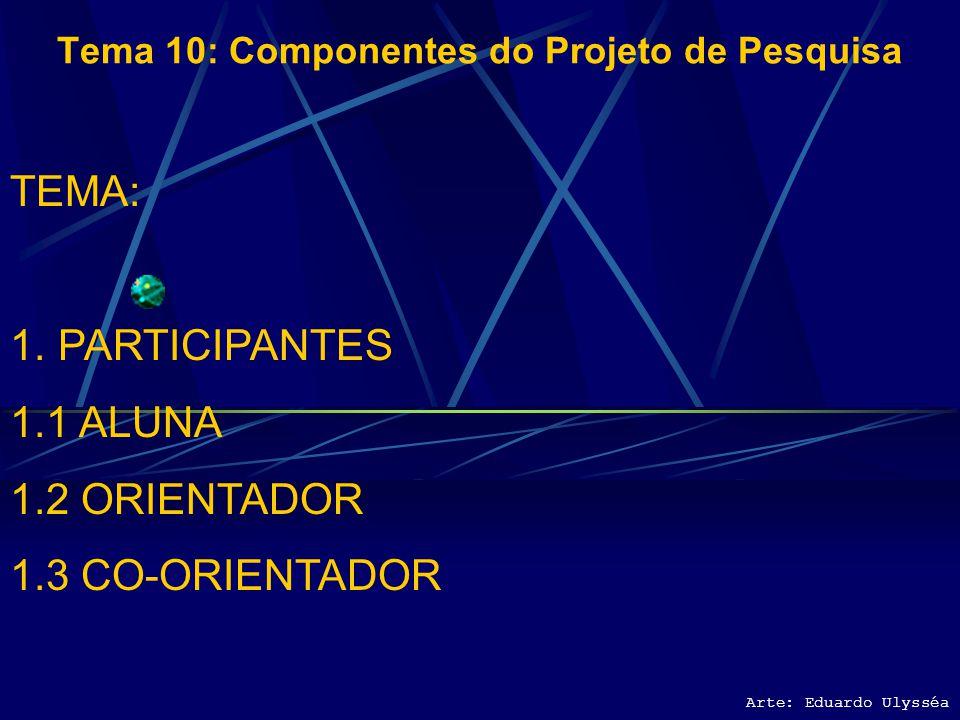 Arte: Eduardo Ulysséa Tema 10: Componentes do Projeto de Pesquisa TEMA: 1.PARTICIPANTES 1.1 ALUNA 1.2 ORIENTADOR