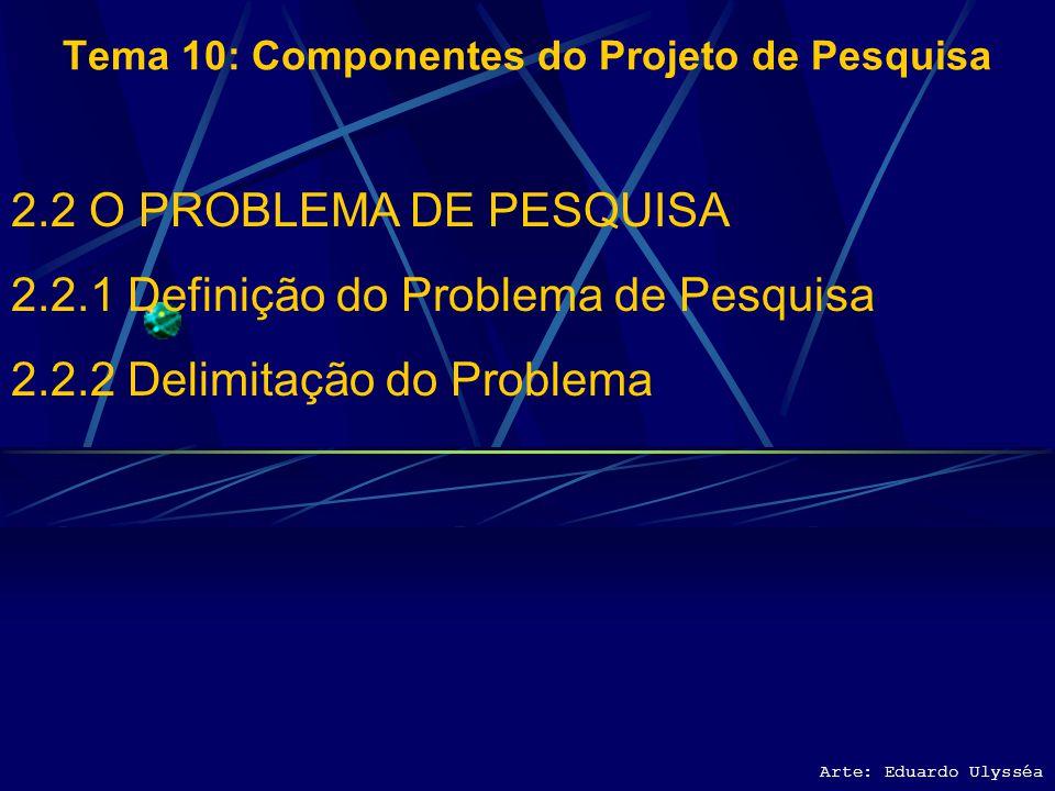 Arte: Eduardo Ulysséa Tema 10: Componentes do Projeto de Pesquisa 2.2 O PROBLEMA DE PESQUISA 2.2.1 Definição do Problema de Pesquisa