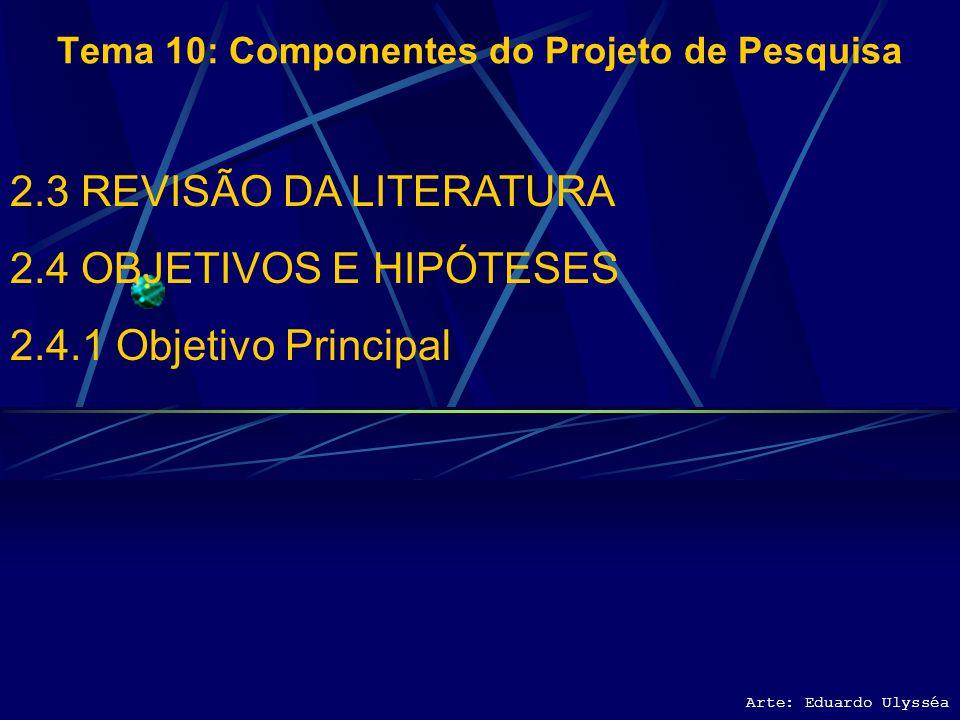 Arte: Eduardo Ulysséa Tema 10: Componentes do Projeto de Pesquisa 2.3 REVISÃO DA LITERATURA 2.4 OBJETIVOS E HIPÓTESES