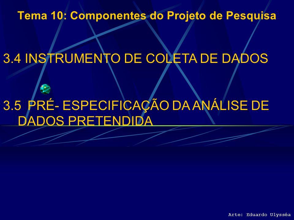 Arte: Eduardo Ulysséa Tema 10: Componentes do Projeto de Pesquisa 3.4 INSTRUMENTO DE COLETA DE DADOS