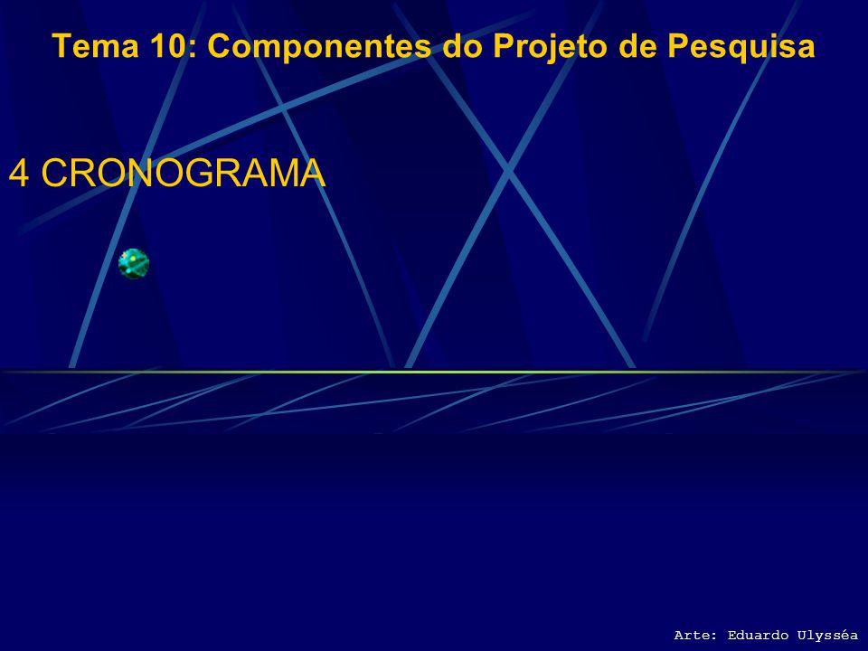 Arte: Eduardo Ulysséa Tema 10: Componentes do Projeto de Pesquisa 3.4 INSTRUMENTO DE COLETA DE DADOS 3.5 PRÉ- ESPECIFICAÇÃO DA ANÁLISE DE DADOS PRETEN