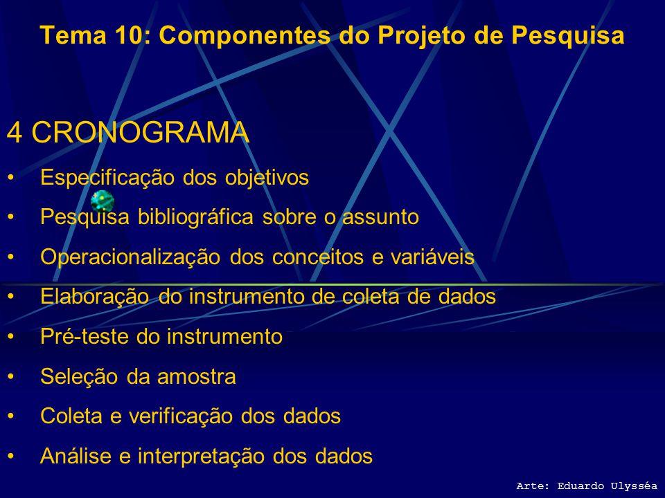 Arte: Eduardo Ulysséa Tema 10: Componentes do Projeto de Pesquisa 4 CRONOGRAMA Especificação dos objetivos Pesquisa bibliográfica sobre o assunto Oper