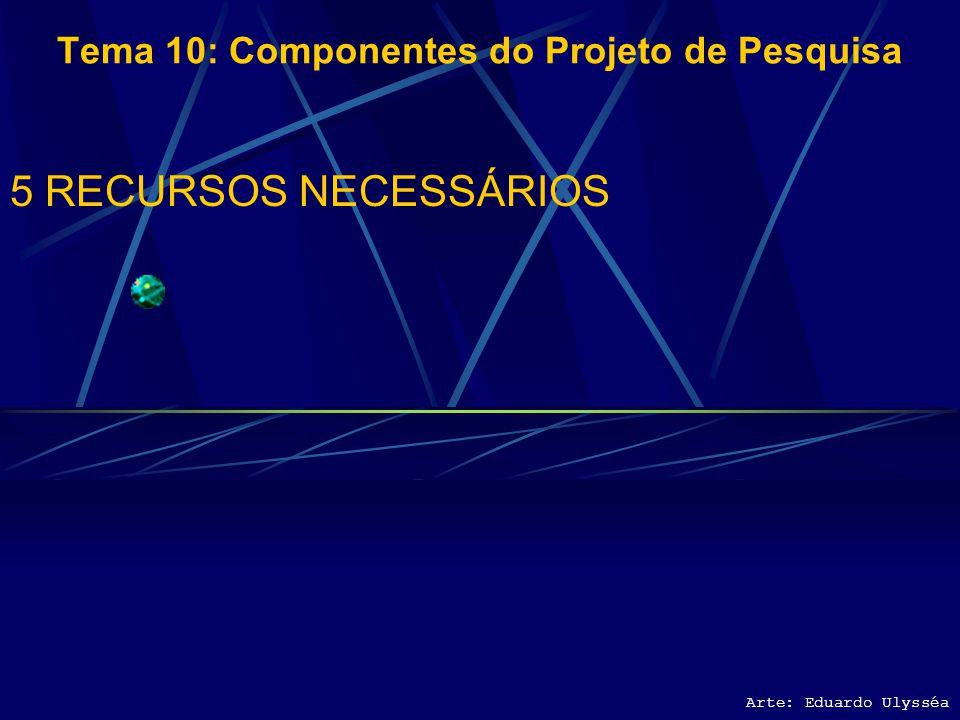 Arte: Eduardo Ulysséa Tema 10: Componentes do Projeto de Pesquisa 4 CRONOGRAMA Apresentação dos resultados Defesa do trabalho Especificação dos objeti