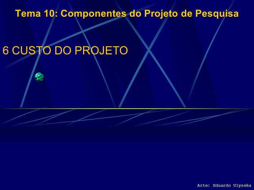 Arte: Eduardo Ulysséa Tema 10: Componentes do Projeto de Pesquisa 5 RECURSOS NECESSÁRIOS 5.1 EQUIPE E PARCEIROS 5.2 SUPRIMENTOS E EQUIPAMENTOS 5.3 RIS