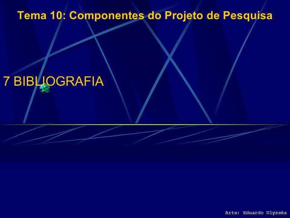 Arte: Eduardo Ulysséa Tema 10: Componentes do Projeto de Pesquisa 6 CUSTO DO PROJETO 6.1 CUSTOS UNITÁRIOS DOS RECURSOS DEMANDADOS 6.2 ORÇAMENTO DO PRO