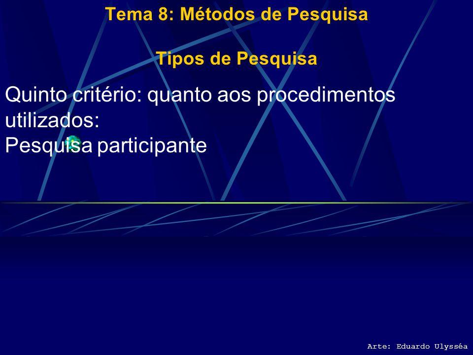 Arte: Eduardo Ulysséa Tema 8: Métodos de Pesquisa Tipos de Pesquisa Quinto critério: quanto aos procedimentos utilizados: Pesquisa bibliográfica Pesqu