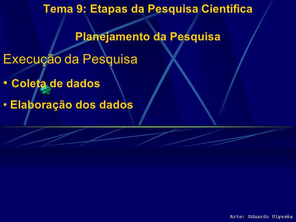 Arte: Eduardo Ulysséa Tema 9: Etapas da Pesquisa Científica Planejamento da Pesquisa Execução da Pesquisa Coleta de dados