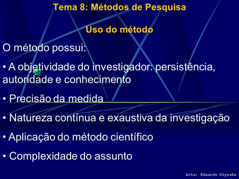 Arte: Eduardo Ulysséa Tema 8: Métodos de Pesquisa Uso do método Além da coleta, registro e análise dos dados, a escolha do método científico da pesqui