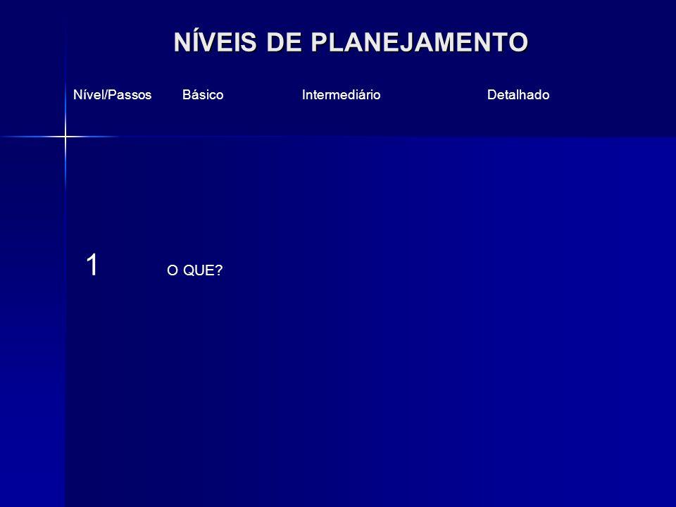 NÍVEIS DE PLANEJAMENTO Nível/Passos Básico Intermediário Detalhado 1 O QUE?