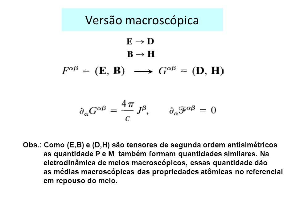 Versão macroscópica Obs.: Como (E,B) e (D,H) são tensores de segunda ordem antisimétricos as quantidade P e M também formam quantidades similares.