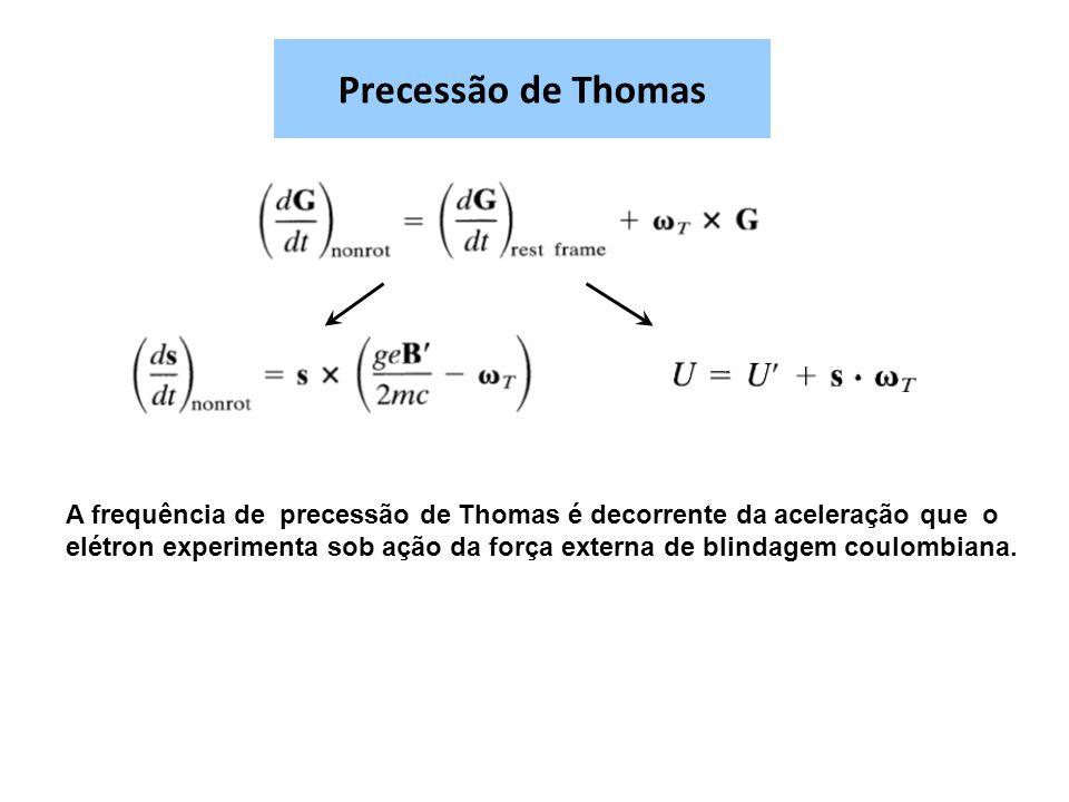 Precessão de Thomas A frequência de precessão de Thomas é decorrente da aceleração que o elétron experimenta sob ação da força externa de blindagem coulombiana.