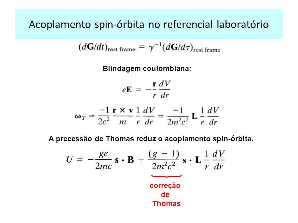 Acoplamento spin-órbita no referencial laboratório Blindagem coulombiana: A precessão de Thomas reduz o acoplamento spin-órbita.