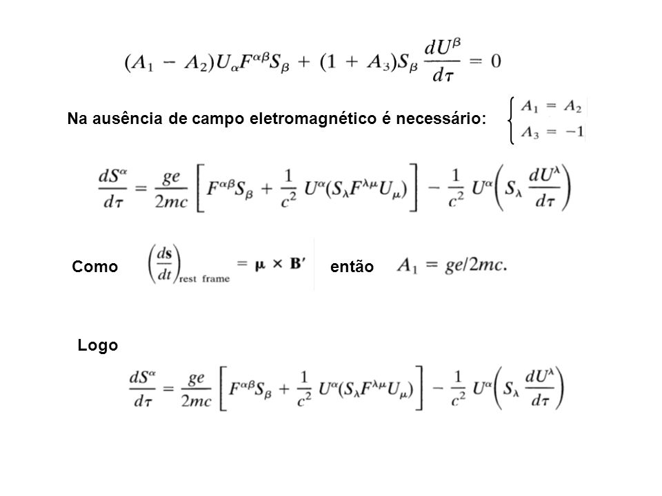 Na ausência de campo eletromagnético é necessário: Como então Logo
