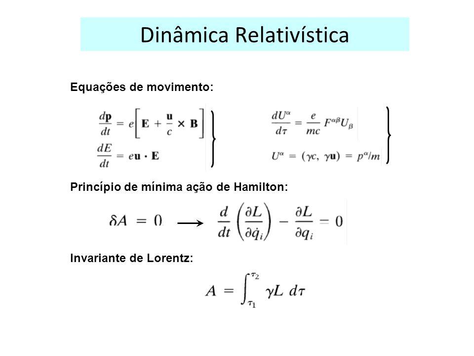 Dinâmica Relativística Equações de movimento: Princípio de mínima ação de Hamilton: Invariante de Lorentz:
