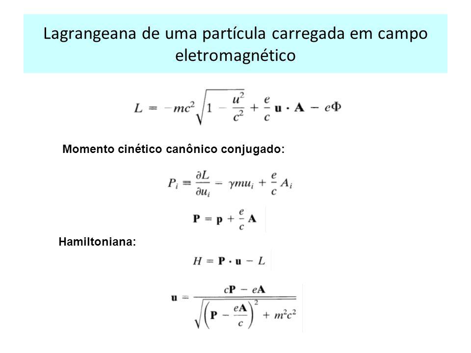 Lagrangeana de uma partícula carregada em campo eletromagnético Momento cinético canônico conjugado: Hamiltoniana: