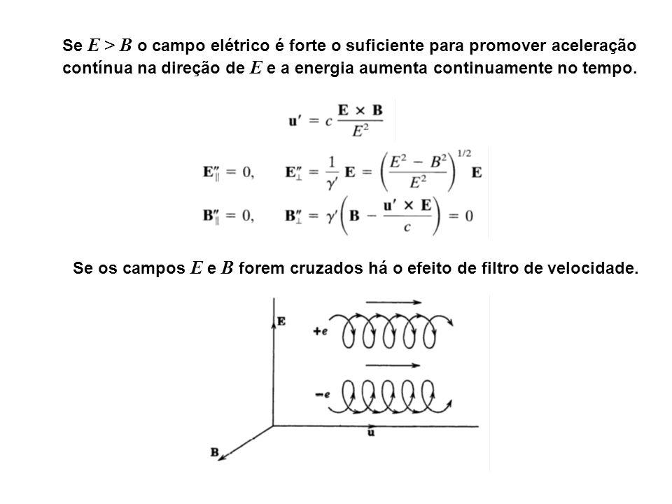 Se E > B o campo elétrico é forte o suficiente para promover aceleração contínua na direção de E e a energia aumenta continuamente no tempo.