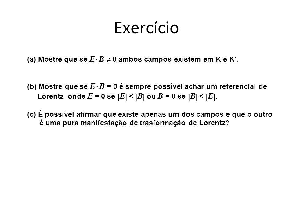 Exercício (a) Mostre que se E B 0 ambos campos existem em K e K .