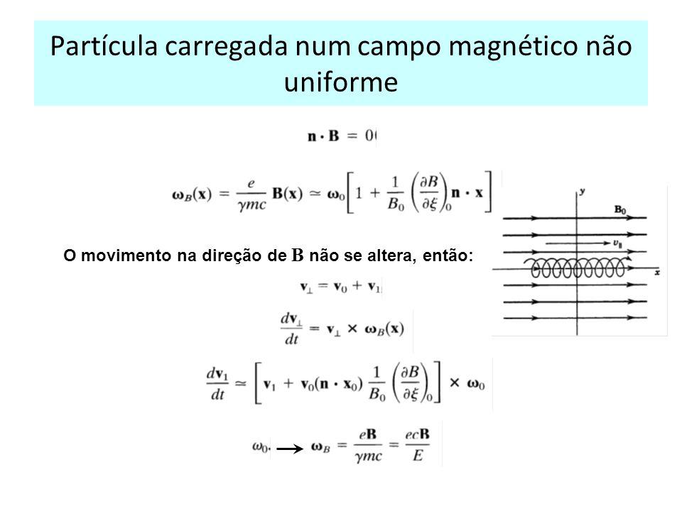 Partícula carregada num campo magnético não uniforme O movimento na direção de B não se altera, então: