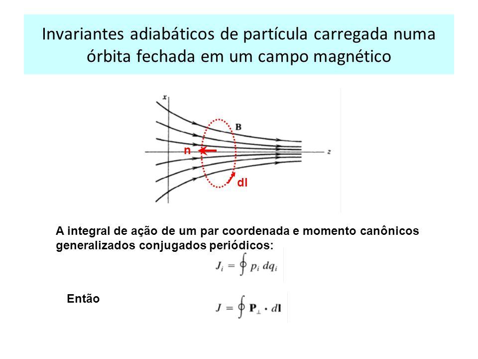 Invariantes adiabáticos de partícula carregada numa órbita fechada em um campo magnético A integral de ação de um par coordenada e momento canônicos generalizados conjugados periódicos: Então n dl