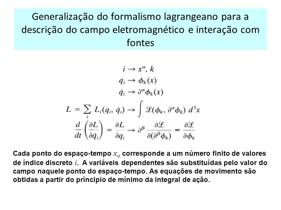 Generalização do formalismo lagrangeano para a descrição do campo eletromagnético e interação com fontes Cada ponto do espaço-tempo x corresponde a um número finito de valores de índice discreto i.