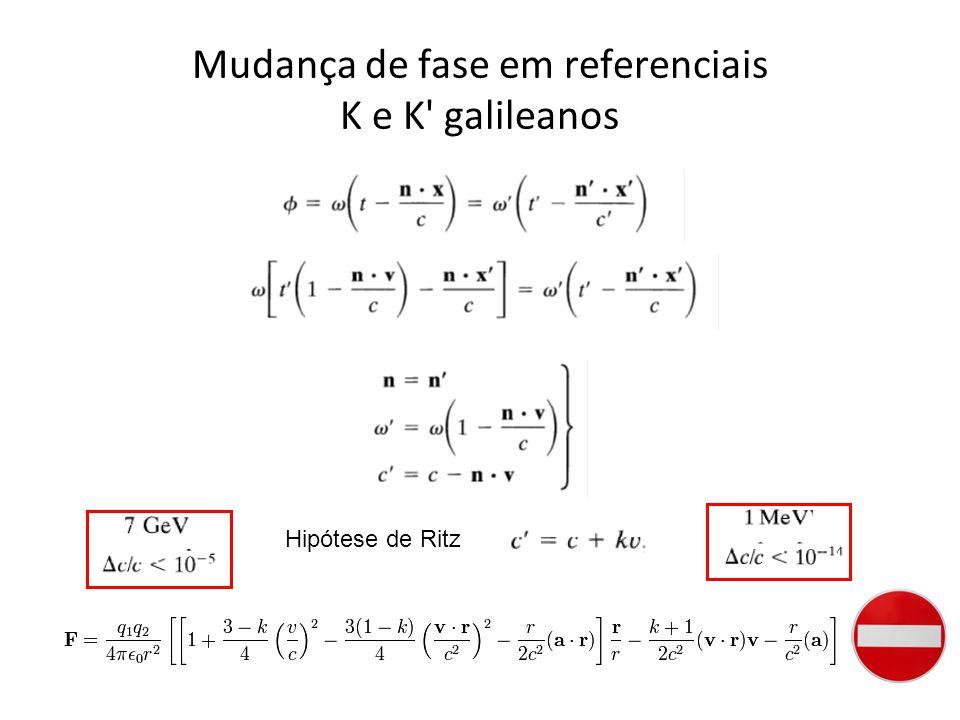Mudança de fase em referenciais K e K galileanos Hipótese de Ritz