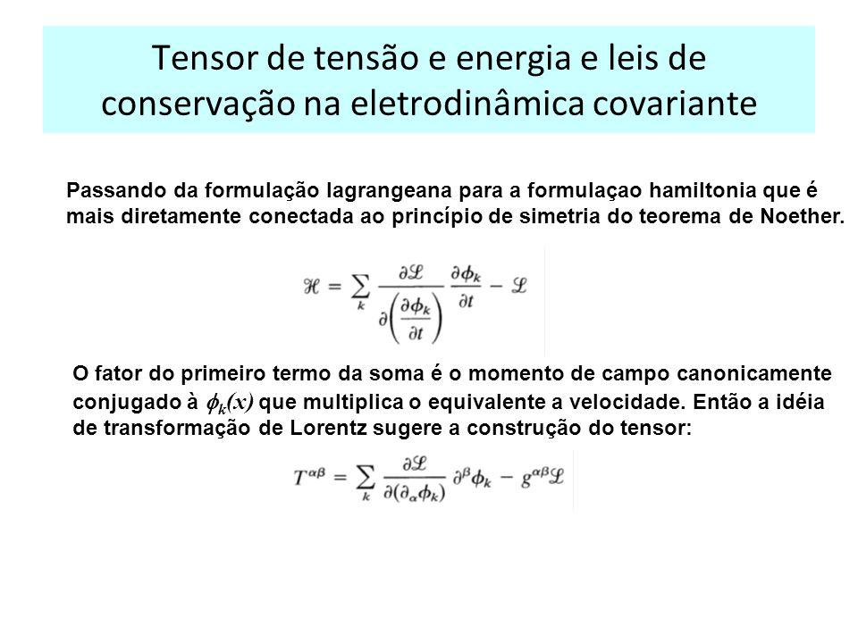 Tensor de tensão e energia e leis de conservação na eletrodinâmica covariante Passando da formulação lagrangeana para a formulaçao hamiltonia que é mais diretamente conectada ao princípio de simetria do teorema de Noether.