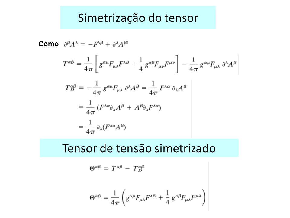 Simetrização do tensor Como Tensor de tensão simetrizado
