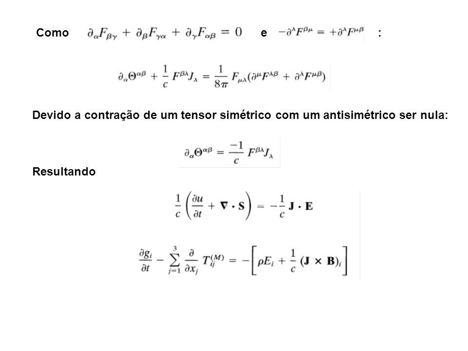 Como e : Devido a contração de um tensor simétrico com um antisimétrico ser nula: Resultando