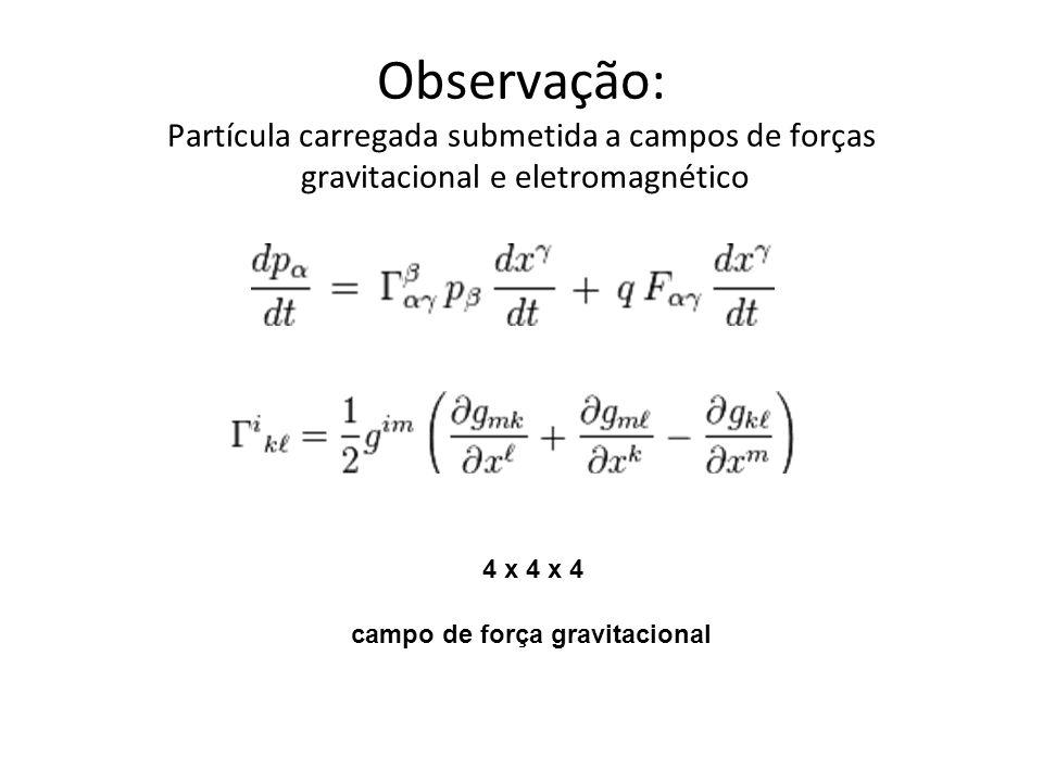 Observação: Partícula carregada submetida a campos de forças gravitacional e eletromagnético 4 x 4 x 4 campo de força gravitacional